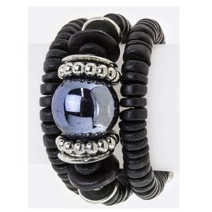 Jewelry - Statement Black Wood Bead Wrap Bracelet